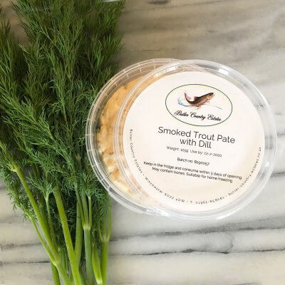 Smoked trout pate with dill.