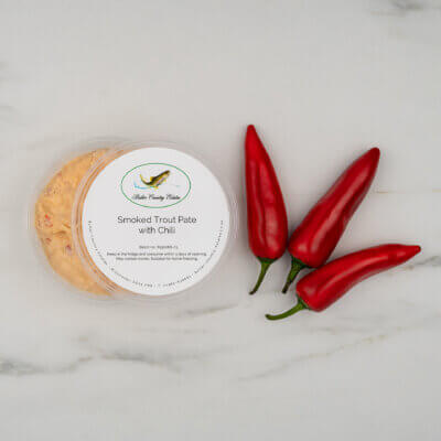Smoked trout pate with chili.