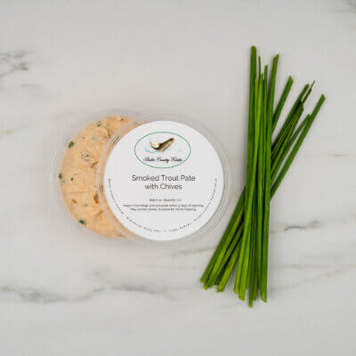 Smoked trout pate with chives.